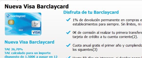 Tarjeta Barclaycard