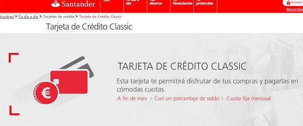 Tarjeta de crédito classic santander